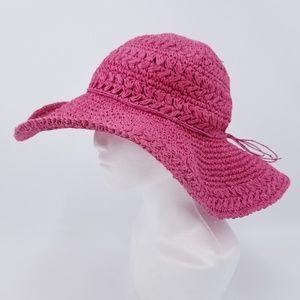 Panama Jack Pink Paper Straw Wide Brim Sun Hat